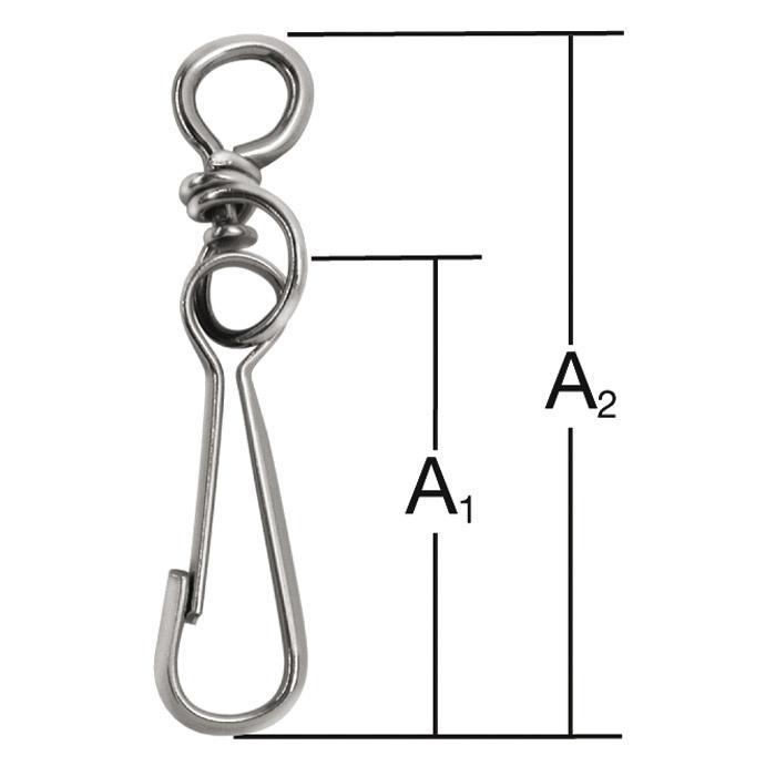 Simplex-Haken - Stahl - vernickelt - mit Wirbel - VE 10 Stück - Preis per VE