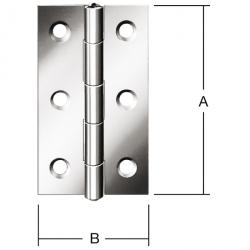 Hinge - rolled - narrow - stainless steel - price per pack
