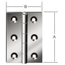 Hængsel - valset - halv bredde - rustfrit stål - pris pr. Pakke