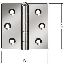 Gångjärn - valsat - kraftigt - kantigt - rostfritt stål