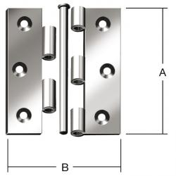 Hinge - rolled - strongly - half wide - galvanized