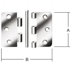 Hinge - 75 x 75 mm - rolled - square - stainless steel - 24 pieces