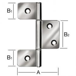 Slat door hinge - rolled - brass - 20