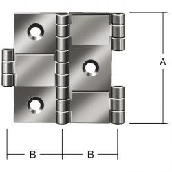 Partition hengsel - messing - 3 deler - 20