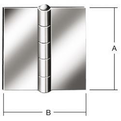 Hengs - rullet - kantig - ikke boret - rustfritt stål - 24 stykker