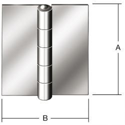 Gångjärn - rullade - DIN 18286 B - utan hål - 20 stycken