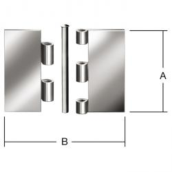 Steel window hinge - rolled - stainless steel - strong - undrilled - pack of 24 - price per pack