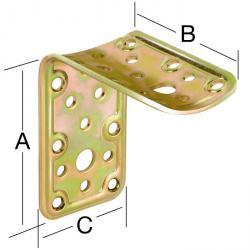 Équerre de support - acier - galvanisé - épaisseur 2,2 mm - pour la connexion de bois carré et bois rond - prix par unité centrale