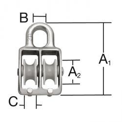 Bockseilrolle - doppelt - verzinkt - SB-verpackt - VE 5 Stück - Preis per VE