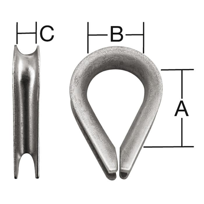 Seilkausche - verzinkt oder Edelstahl - SB-verpackt oder im Großpack - Preis per VE
