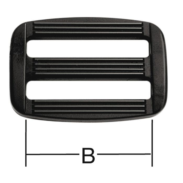 Reglerande spänne - för bälten - svart - plast - 10 st