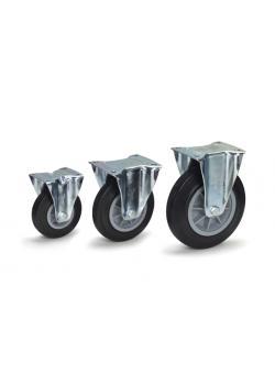 Hjul - svarta massiva gummidäck - 135 kg - plastfälgar