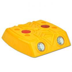 Markeringskloss - PPC - gul - 120x120x28 mm - reflekterande