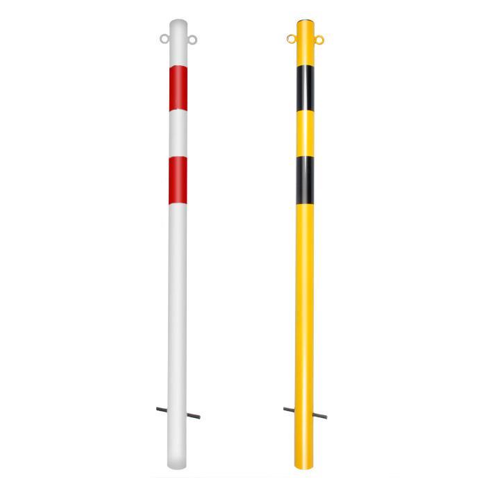Absperrpfosten - Stahl - 1400mm - weiß/rot o. scwarz/gelb - mit/ohne Öse - zum E