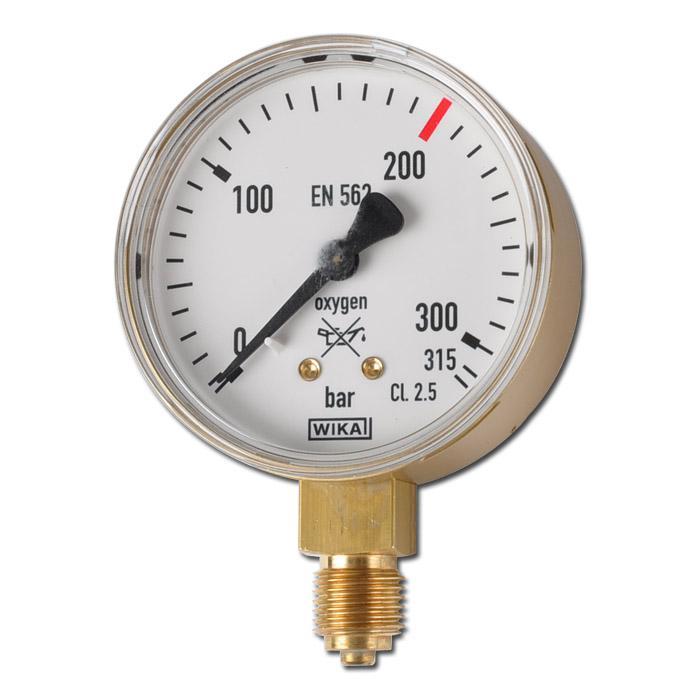 Manometro per pressione tubo per ossigeno - Ø 63 mm - classe 2.5 - visualizzazione in bar