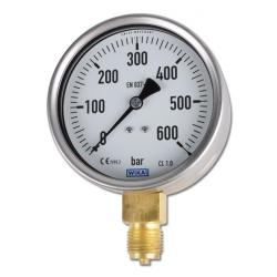 Manomètre - classe 1,0 - Ø 100 - de -1 à 1000bar - vertical, acier chrome nickel / laiton