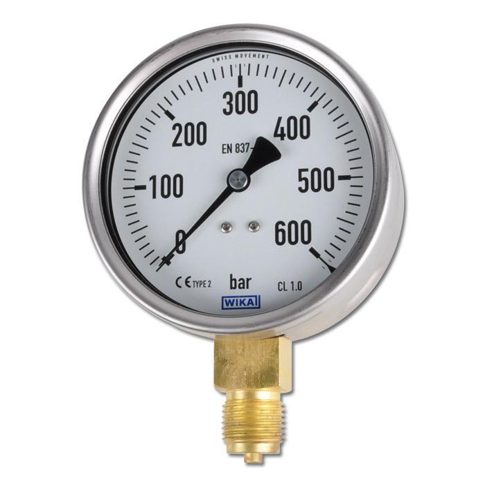 Manometer - Klasse 1,0 - Ø 100 mm - stehend -  von -1 bar bis 1000 bar - Chromnickelstahl / Messing
