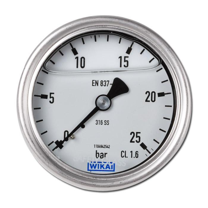 """Glycerin-Manometer - Klasse 1,6 - Ø 63 mm - von -1 bar bis 250 bar - Chemieausführung - G 1/4"""" B"""