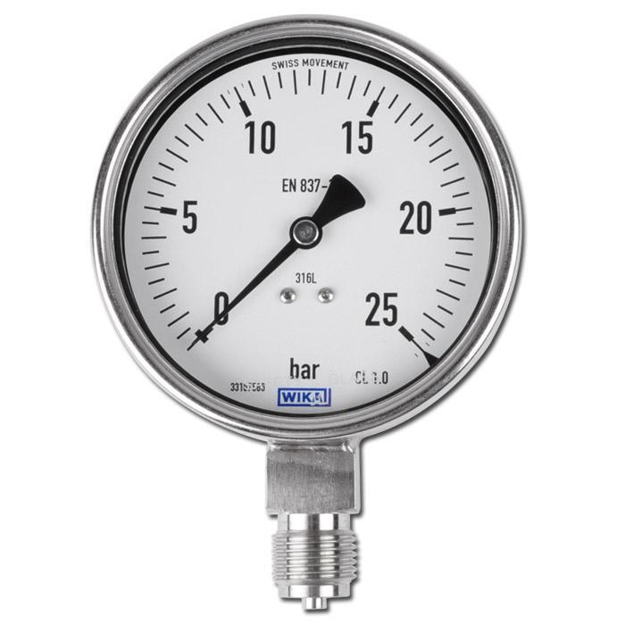 """Manometer - Klasse 1,0 - Ø 100 mm - stehend - von -1 bar bis 1000 bar - G 1/4"""" unten"""