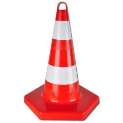 Cône hexagonal- PP rouge/blanc non réfléchissant hauteur du cône 50cm