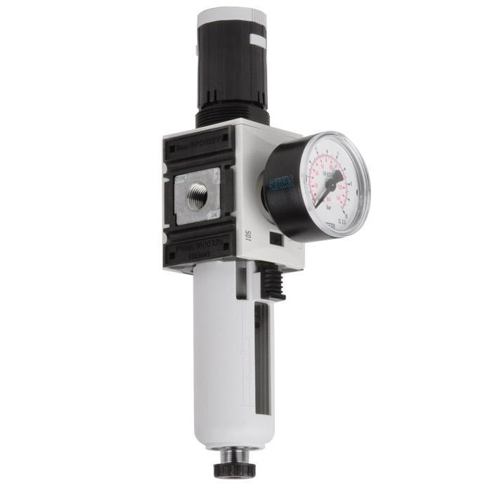 "Filterregler ""FUTURA"" - Baureihe 1 / 5 µm - bis 2600 l/min - 16bar - mit Handabl"