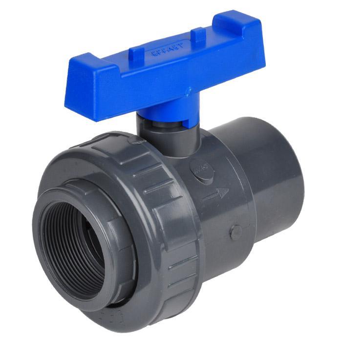 Einring-Kugelhahn mit IG - PVC-U Wasserausf. - PN 16/10