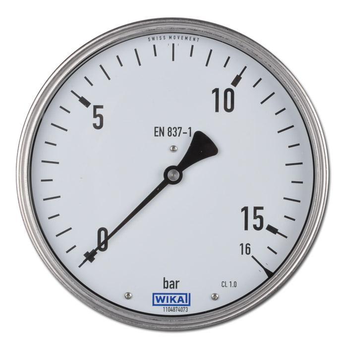 Manometer - Ø 160 mm - Anschluss hinten - Chromnickel mit Messinganschluss