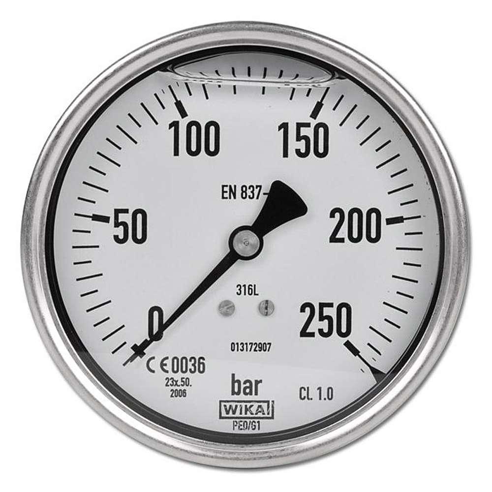 Glycerin-Manometer Klasse 1,0 -  Ø 100 mm von -1 bar bis 250 bar - Edelstahl - waagerecht - Chemieausführung