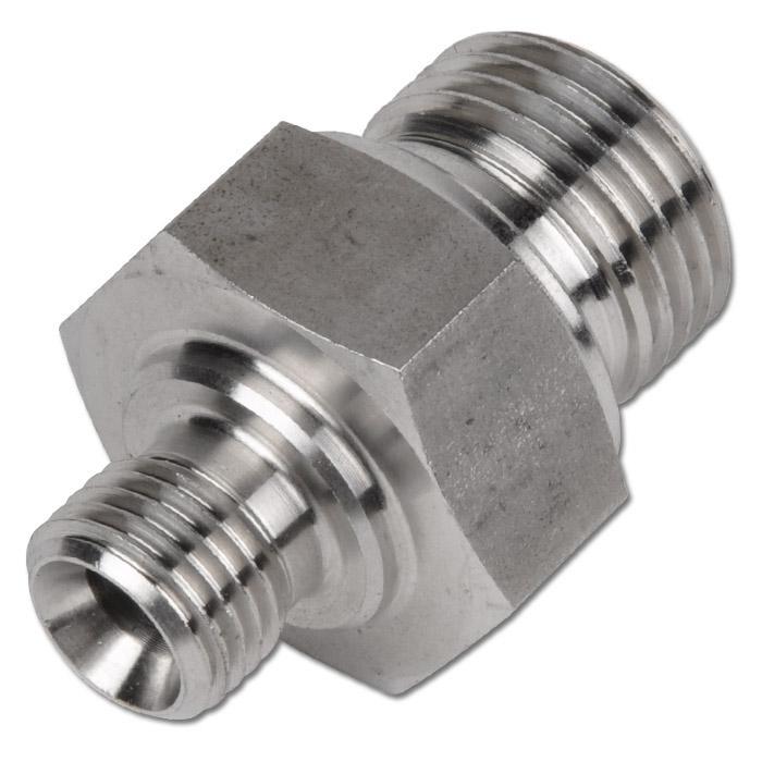 """Hydraulik-Doppelnippel - Edelstahl 1.4571 - 60°-Universaldichtkegel - 2 zyl. Gewinde G 1/8"""" bis G 2"""" - PN 160 bis 400"""
