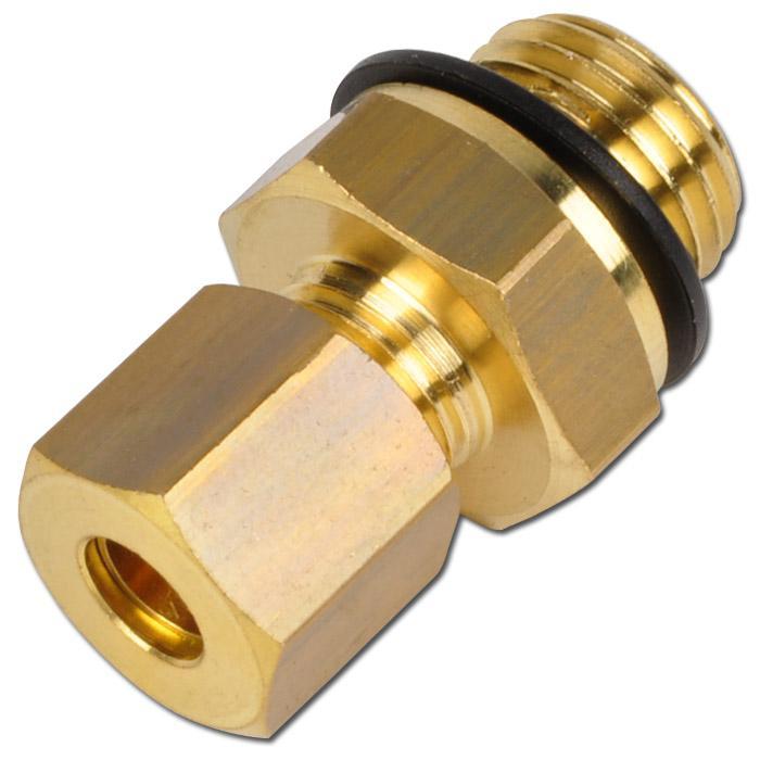 Raccord droit à bague de serrage - laiton avec joint polymère - filetage cylindrique mâle