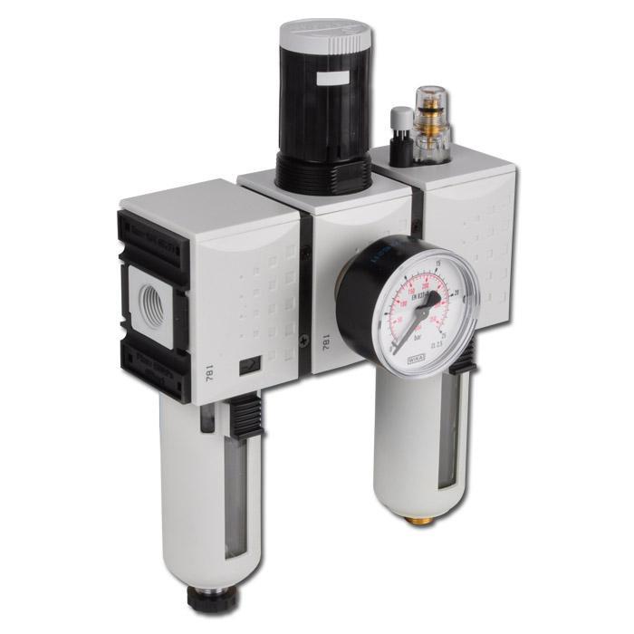Unité de conditionnement Futura - filtre de 5 µm + régulateur + lubrificateur - 16 bar - jusqu'à 3500l/min