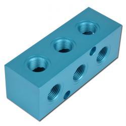 Fördelarblock kors aluminium 9/12 fack - max. 16 bar