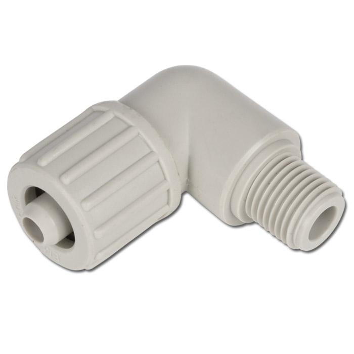 Winkel-Einschraubverschraubung für Gewebeschlauch TX - PP - bis 10 bar