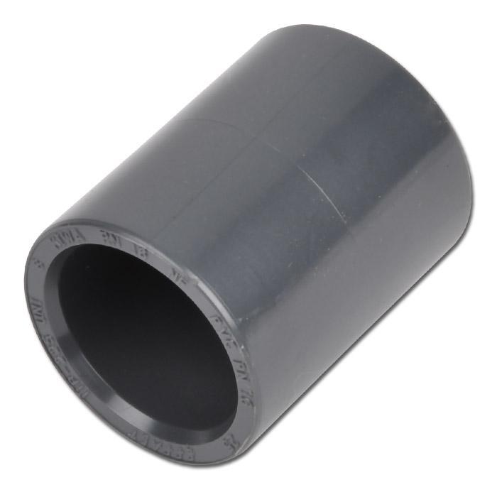 Klebemuffe - PVC-U - Innen-Ø 20 bis 110 mm - Außen-Ø 26 bis 128 mm - Länge 36 bis 127 mm - PN 16