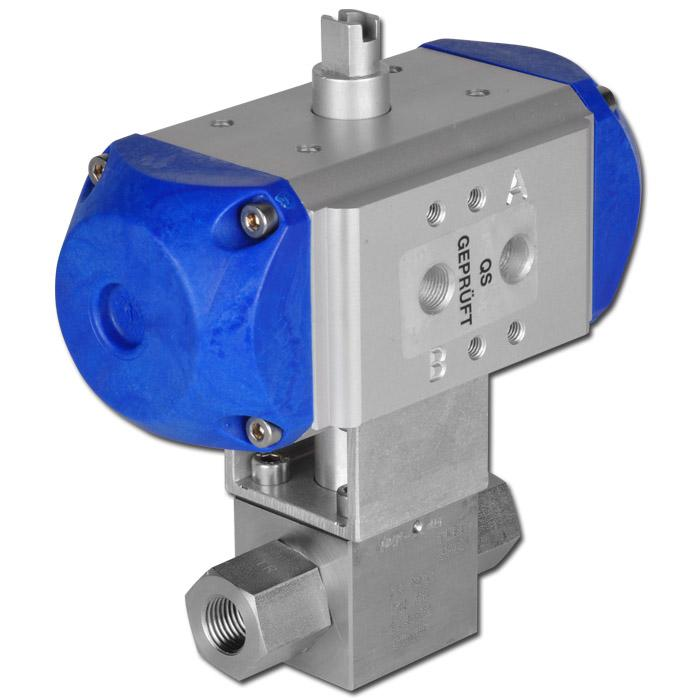 Hochdruckkugelhahn mit pneumatischem Antrieb max. PN 500 - Edelstahl