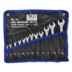 Maulringschlüssel-Satz - CV-Stahl - 6 bis 22mm - 12-tlg - in Rolltasche