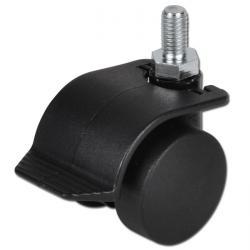 Dubbelhjul - 40-70 kg - dubbelbroms - platta - glidlager - plast