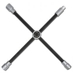 Clé en croix pour voitures - avec joint coulissant - pliable longuer de bras 40 cm