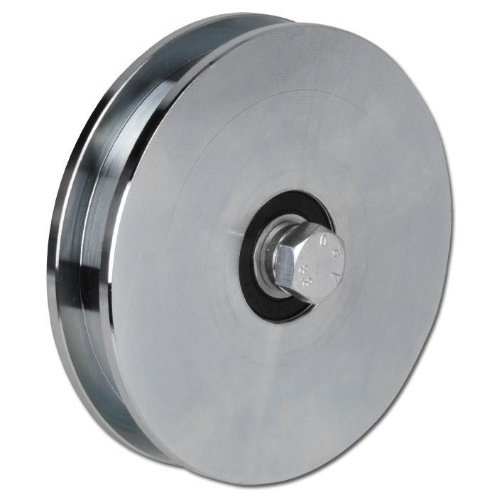 Laufrolle - Stahl verzinkt - kantige Nut - 2 Kugellager - Rad-Ø 98 bis 197 mm - Tragkraft 425 bis 625 kg