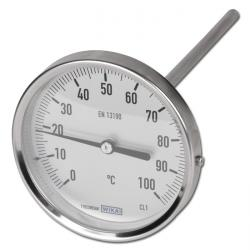 Bimetallthermometer - waagerecht - Edelstahlgehäuse ohne Schutzrohr - Industriea