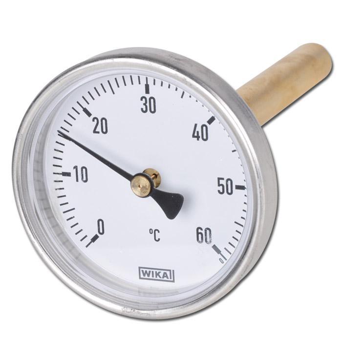 Bimetallthermometer - waagerecht - Aluminiumgehäuse und CU-Schutzrohr - Kl. 2,0