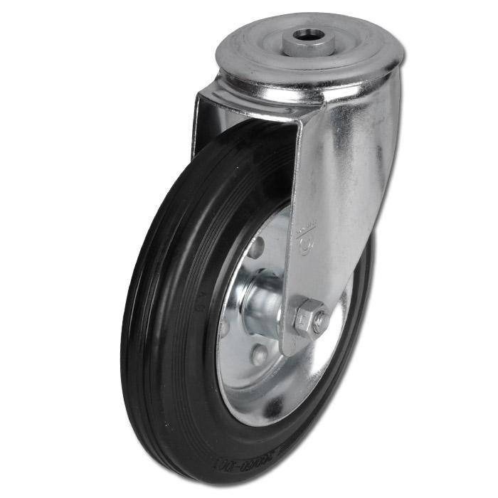 Lenkrolle - Vollgummirad - Rückenloch - Rad-Ø 80 bis 200 mm - Bauhöhe 100 bis 235 mm - Tragkraft 50 bis 205 kg
