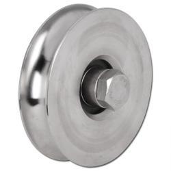 Seilrolle - Edelstahl - halbrunde Nut - Kugellager - Rad-Ø 60 bis 197 mm - Tragkraft 100 bis 330 kg