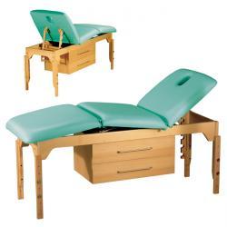 Massagebänk - C 832 - av bokträ - med 2 skjutlådor