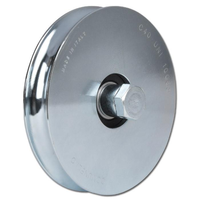 Laufrolle - Stahl verzinkt - halbrunde Nut - Kugellager - Rad-Ø 50 bis 197 mm - Tragkraft 70 bis 330 kg