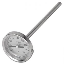 Bimetallthermometer - waagerecht - Edelstahl - Kl. 1,0