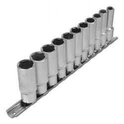 """Steckschlüssel-Einsätze tief - 8 bis 19 mm 3/8"""" 11-teilig"""
