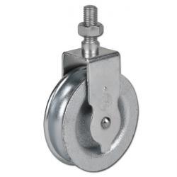 Waschseilrolle - Grauguss/Stahl verzinkt - halbrunde Nut - Schraube oder Bolzen - Rad-Ø 60 mm - Tragkraft 22 kg
