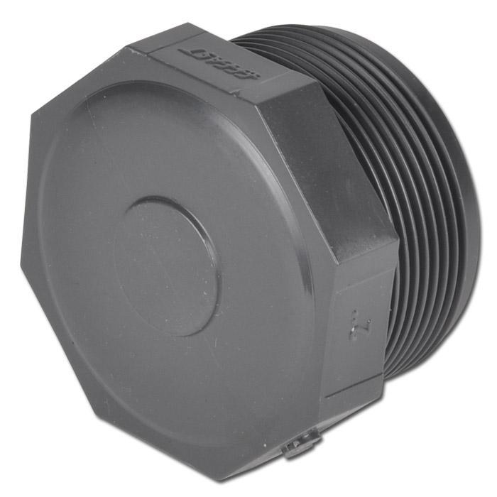 """Verschlußstopfen -  PVC-U - mit Außengewinde - Gewinde G 3/8"""" bis G 4"""" - Länge 23 bis 63 mm - PN bis 16"""