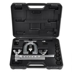 Double flaring tool with five pressure pieces from 4.75 to 10 mm